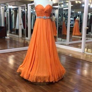 Orange prom dress with rhinestone waist